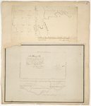 """Page 32. A plan of the South half of Township No. 1 """"Titcomb's Survey"""" Belonging to the 2nd Range of Townships North of Bingham's Penobscot Purchase as run into lots in Sept. 1832; A Plan of the Survey of Lots on Fish River Road so called in Township No. 17 Range 7 surveyed in the months of May and June A.D. 1847 by John Webber, Levi Bradly, George W. Coffin, and Caleb Leavitt"""