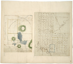 """Page 35. Plan of Township 8 in the 9th Range of townships North of the Waldo Patent, the south part of which belongs to the State of Maine as designated """"State's Land;"""" Plan of Township No. 7 in the 2nd Range of Townships north of Bingham's Penobscot purchase as surveyed in 1830. by Hiram Rockwood, Daniel Rose, and Caleb Leavitt"""