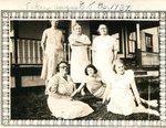 August 8, 1934 - Front Row - Gussie Stockson; Mattie Palm; Katherine (Palm) Carlstrom; Back Row - Sally Green, Bessie Carlstrom & Hilda Palm