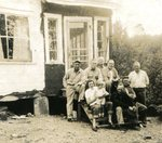 Fogelin's Camp at Long Lake - Back Row - Malcolm Carlstrom, Gottfried Borjeson, Leland Fogelin, Eddie Palm. Front Row - Katherine & Jean Carlstrom, Roland Tall, Arnold Palm
