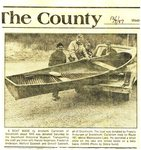 Newspaper Clipping - Canoe made by Andshelm Carlstrom, donated to the Stockholm Historical Society. Helping - Harold Anderson, Frederick Anderson, Melford Sjostedt and Donald Sjostedt