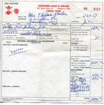 Bill of Sale for  Volkswagon automobile purchased by Mrs. Thelma Palm - May 27, 1957