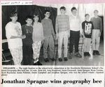 Newspaper clipping - 1993 - Jonathan Sprague wins geography bee