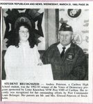 Newspaper clipping - 1993 - Andrea Peterson, winner of  Voice of Democracy