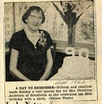 Newspaper clipping - Christine Anderson's 90th birthday