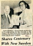 Newspaper clipping - Clarence  Anderson - 100 years old - oldest person in Maine receiving social security