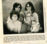 Newspaper clipping - 1982 - Five generations of Hildur Swenson Oberg's Family