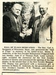 Newspaper clipping - 1982 - Hall of Flags Dedication with Rev. Carl A Bergquist & Louis Larsson