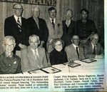 Newspaper Clipping - American Legion honors Outstanding Citizens;Dorothy Cooper, Pete Beaulieu, Elvira Engstrom, Harold Anderson, C.H. Carlson; Back row - Alton Wardwell, Curtis Cooper, Donald Collins, Rev. Paul Gleichman & Commander John Simpson.