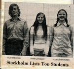 Newspaper Clipping - Stockholm List Top Students - Colin Strainge, Terri LaForest & Carol Sodergren.