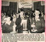 Newspaper Clipping - Race winners - Tommy Campbell (center); Gregory Wardwell (left); Jon Sund (right)