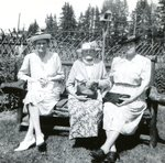 Lottie (Swenson) Tjernstrom; Brita (Sodergren) Swenson; Emmy (Swenson) Jepson at York's Tea Room- 20 July 1947