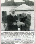Newspaper Clipping - Richard Hede receives the Maine Humanities Council award for the Maine Swedish Colony.