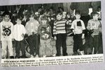 Newspaper Clipping - Kindergarten students  with the Union #122 Band - Randy King; Anthony Ouellette; Jeanne Sund; Morgan Bossie; Lucas Sterris; Kyle Harpine & Eric Dickinson