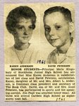 Newspaper Clipping  1961 - Honor Students - Karen Anderson & David Peterson