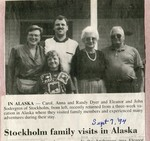 Newspaper Clipping - John & Eleanor Sodergren; Randy, Carol (Sodergren), & Anna Dyer - trip to Alaska