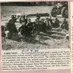 Newspaper Clipping - Fall 1994 - Farm visit to Goughan's Animal Farm. Corey Johnston, Corey Dickinson, Christopher Rossignol, Vruce Weymouth, Daniel Michaud, Reanna Peterson, Monica Selander, Victoria Strainge, Billy Mahoney, Matthew Jandreau & Russell Currier.