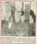 Newspaper Clipping - Anderson Family - Andrew Anderson, Barbara Anderson.Back row - Roland & Keith Anderson