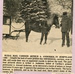 Newspaper clipping - Rural mail currier,  Arthur A Anderson in Jemptland, ME