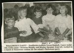 Newspaper clipping - 1989 - Halloween party with Stockholm students, Simon Sjostedt, Cassie Anderson, Cathy Quist, Christina Murphy and Mindy Harpine.