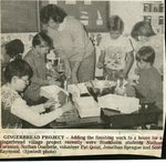 Newspaper clipping - 1989 - Gingerbread project with Stockholm students, Nathan Forsman, Nathan Quellette, volunteer Pat Quist, Jonathan Sprague and Scott Raymond