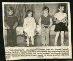 Newpaper clipping - 1989 - Kindergarten students, Samuel Sjostedt, Jessica Ouellette, Nicholas Thibodeau and Michelle Raymond performing a musical number during a Christmas program
