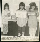 Newspaper clipping - 1990 - Stockholm kindergarten show off art work - Jessica Ouellette, Lauren Currier and Diana Murphy