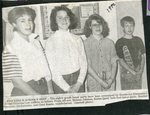 Newspaper clipping - 1990 - Stockholm eighth grade honor parts - Melissa Johnson, Karen Quist, Heather Harpine and Chad Bossie.
