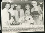 Newspaper clipping- 1990 - Woodland's Oldest Citizen, Elsie  Soderberg, presented with Woodland Historical Society's cane.