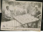 Newspaper clipping - 1990 - St. Theresa's Catholic Church Chicken barbeque - Galen Dickinson, Hercule Roy  and Joe Albert.