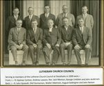 Lutheran Church Council,Stockholm, ME in 1930 - Front row - Hjalmer Carlson, Andrew Lawson, Rev. Jack Menton, George Lindsten, John Anderson; Back row - John Sjostedt, Olof Gunnerson, Walter Adamson, August Sodergren, John Nelson