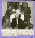 Newspaper clipping - May 1990 - Blackstone Reuion - Carol (Blackstone) Helyman; Marie (Blackstone) Archibald;Kenneth Blackstone; Norma (Blackstone) Milton; Back - Claudia (Blackstone) McClain; Marjorie (Blackstone) Shelton; Jean (Blackstone) Nelson