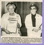 Newspaper Clipping - Charter Members honored - Ingrid Anderson and Bea Dixon