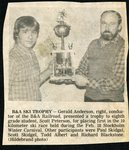 Newspaper clipping - 1983 - Gerald Anderson presenting the B & A trophy to Scott Peterson