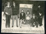 Newspaper clipping - Outhouse Race Champs - Kevin Brissette, Karl Espling, Dave Rossignol, Melanie Rossignol, Bub Anderson & Tom Campbell