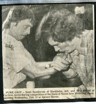 Newspaper clipping - Scott Sandstrom & Alan Hallett at State of Maine Arm Wresling Championship