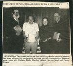 Newspaper clipping - American Legion Post 136 honors area citizens - Richard Hede, Hartley Nelson, Norma Sund and Dannie Brewer