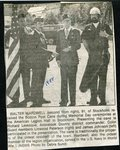 Newspaper clipping - 1988 - Walter Wardwell receives the Boston Post Cane during Memorial Day ceremonies from Richard Levesque. Guard members, Linwood Peterson and James Johnson participate in the presentation.