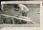Newspaper clipping - 1988 - Alan Turnbull working at the new playground at the Stockholm school