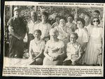 Newspaper clipping - 1989 - Tall Family Reunion. Front - Ella Mae Tall, Velva Tall and Irvina Dixon. Standing - Hanford Dixon, Theodore Hedstrom, Stephen Tozier, Evelyn Hedstrom, Connie Dixon, Sylvia Mattson, Axel Tall, Ruth Tozier,Gustaf Tall,  Winnifred Bell, Gertrude Tozier and Roger Tozier