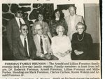 Newspaper clipping - Forsman Family Reunion - Sitting - Dr.. Roderick Forsman, Arnold Forsman, Lillian Forsman and Millie Forbes. Standing - Mark Forsman, Clarice Carlson, Karen Waken and Arnold Forsman, Jr.