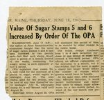 World War II - newspaper clipping - Value of sugar stamps