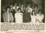 Newspaper Clipping - Confirmands  at St. Theresa's church- Front: Dan Ouellette, Krista Bossie, Bishop Edward O'Leary, Meghan lagasse & Carrie Hewitt. Back: John Raymond, Joseph Pinette, Dan McCormack, Glenn Peterson & Ron Ouellette