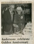 Newspaper Clipping -  Frederick & Merrita (Dunn) Anderson celebrate 50th anniversary