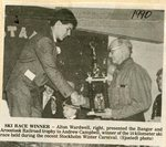 Newspaper Clipping -  Ski Race Winner, Andrew Campbell receiving B & A trophy from Alton Wardwell