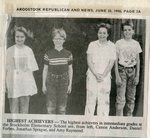 Newspaper Clipping - Highest Achievers 1990 - Cassie Anderson, Daniel Forbes, Jonathan  Sprague & Amy Raymond