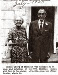 Newspaper clipping - Simon Oberg celebrates 90th birthday. With sister, Ella Anderson