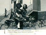 Jackie Raymond, Linda Gunnerson. On steps, Wilmer Quist & Marshall Carlstrom