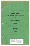 Stockholm, ME Town Report - 1932 - 1933