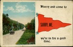 Hurry and Come to Surry, Maine Postcard - Cars on Road